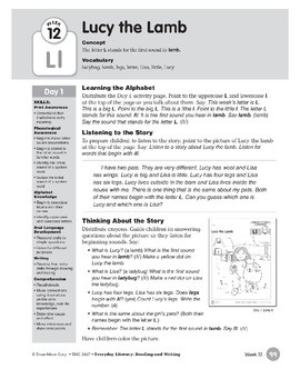 Week 12: Lucy the Lamb--Ll (Everyday Literacy, Reading & Writing)