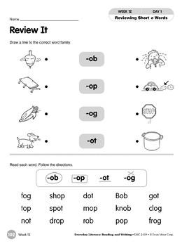 Week 12: Review It (Word Families -ob-op,-og,-ot)