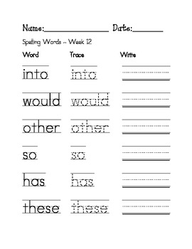 Week 12 Sight Words/ Spelling Words Worksheet