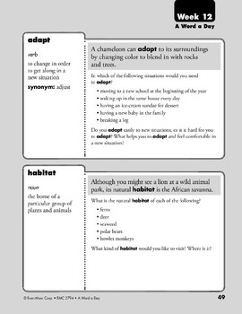 Week 12: mischief, moist, adapt, habitat (A Word a Day)