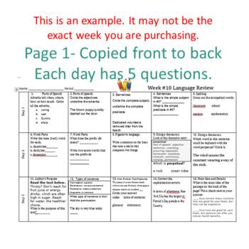 Week 12 of Middle School or Grade 6 ELA Warm Up- Language Arts Bell work