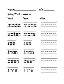 Week 13 Sight Words / Spelling Words Worksheet