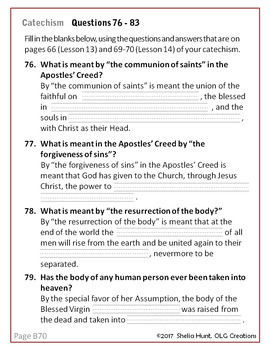 Week 13, St Joseph Baltimore Catechism I Worksheets, Lesson Plans & Answer Key