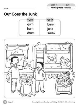 Week 14: Out Goes the Junk (Word Families -um, -unk)