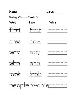 Week 14 Sight Words / Spelling Words Worksheet