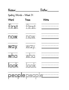 Week 14 Sight Words / Spelling Words Worksheet
