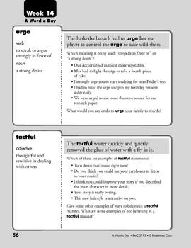 Week 14: urge, tactful, belfry, critique (A Word a Day)