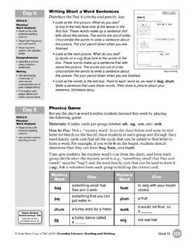 Week 15: Review It (Word Families -ub,-ug,-um,-unk)