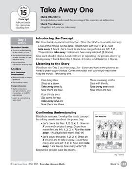 Week 15: Take Away One (Everyday Literacy, Math)