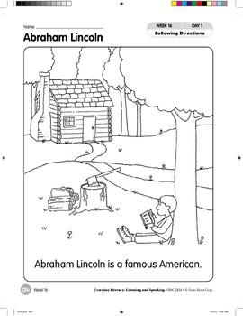 Week 16: Abraham Lincoln (Everyday Literacy, Listening & Speaking)