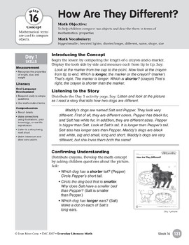 Week 16: How Are They Different? (Everyday Literacy, Math)