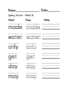 Week 16 Sight Words / Spelling Words Worksheet