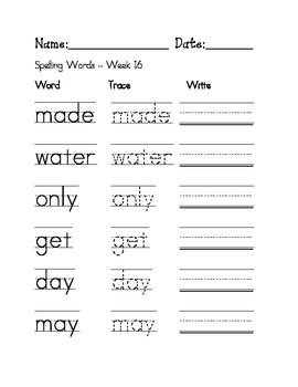 Week 16 Sight Words / Spelling Words Worksheet