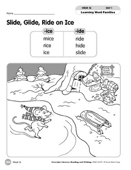 Week 16: Slide, Glide, Ride on Ice (Word Families -ice,-ide)