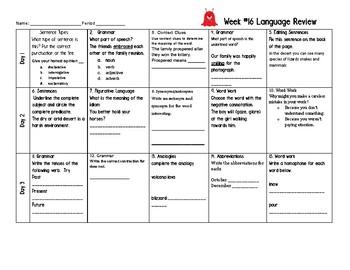 Week 16 of Middle School or Grade 6 ELA Warm Up- Language Arts Bell work