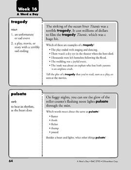 Week 16: tragedy, pulsate, undaunted, aptitude (A Word a Day)