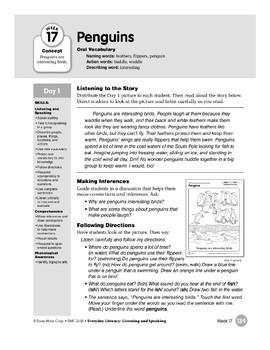 Week 17: Penguins (Everyday Literacy, Listening & Speaking)