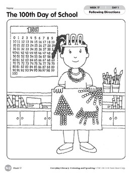 Week 17: The 100th Day of School (Everyday Literacy, Listening & Speaking)