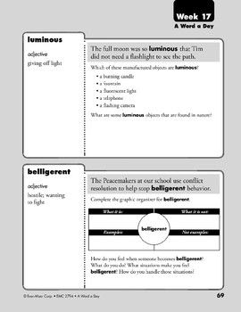 Week 17: digits, shrub, luminous, belligerent (A Word a Day)