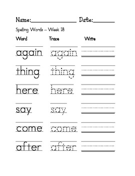 Week 18 Sight Words / Spelling Words Worksheet