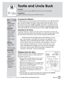 Week 18: Tootie and Uncle Buck--Tt,Uu (Everyday Literacy, Reading & Writing)