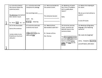 Week 18 of Middle School or Grade 6 ELA Warm Up- Language Arts Bell work