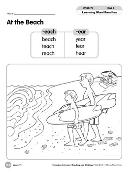 Week 19: At the Beach (Word Families-each & -ear)