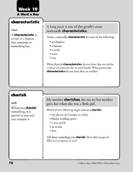 Week 19: characteristic, cherish, expand, edible (A Word a Day)
