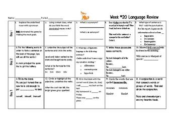 Week 20 of Middle School or Grade 6 ELA Warm Up- Language Arts Bell work