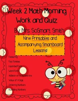 Week 2 Math Spiral Morning Work/Homework Bundle