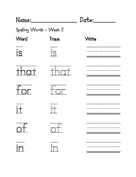 Week 2 - Sight Word Spelling Sentence Worksheet