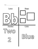 Week 2 of Pre-K (Letter B, Squares, Number 2, and the Color Blue)