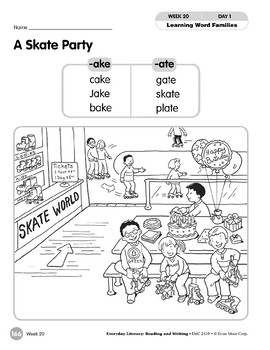 Week 20: A Skate Party (Word Families -ake & -ate)