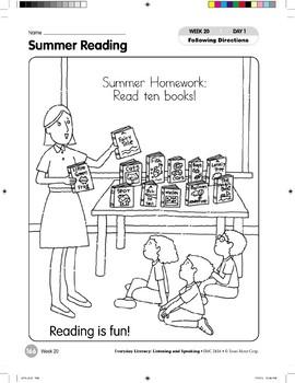 Week 20: Summer Reading (Everyday Literacy, Listening & Speaking)