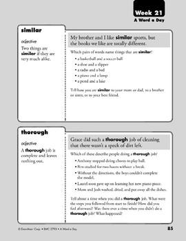 Week 21: theme, strive, similar, thorough (A Word a Day)