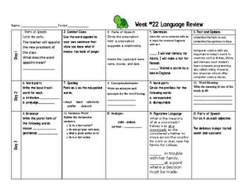 Week 22 of Middle School or Grade 6 ELA Warm Up- Language Arts Bell work
