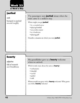 Week 23: jostled, hearty, emotion, procrastinate (A Word a Day)