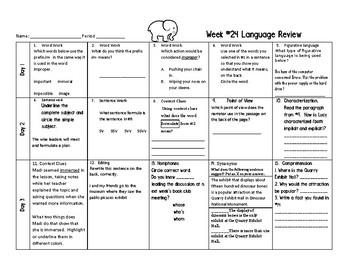 Week 24 of Middle School or Grade 6 ELA Warm Up- Language Arts Bell work