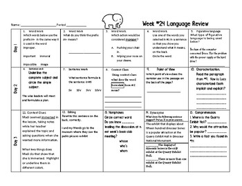 Week 24 of Middle School or Grade 6 ELA Warm Up- Language