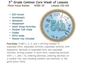 Week 25 Place Value Review 5th Grade Common Core Math EDI