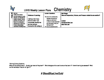 Week 25 chemistry lesson plans