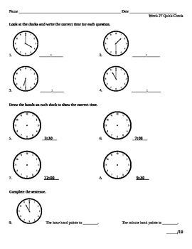 Week 27 Math Quick Check