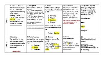 Week 27 of Middle School or Grade 6 ELA Warm Up- Language Arts Bell work