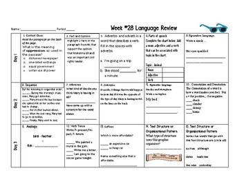 Week 28 of Middle School or Grade 6 ELA Warm Up- Language Arts Bell work