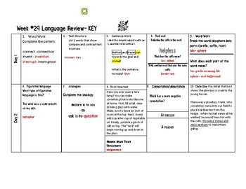 Week 29 of Middle School or Grade 6 ELA Warm Up- Language Arts Bell work