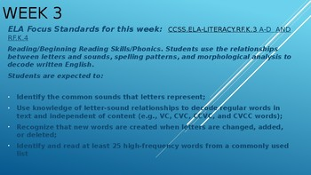 Week #3 Kindergarten Lesson Plans:  relationships between letters and sounds,