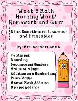 Week 3 Math Spiral Morning Work/Homework Bundle