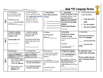 Week 30 of Middle School ELA Warm Up- Language Arts Bell work