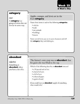 Week 32: ecstatic, associate, category, abundant (A Word a Day)