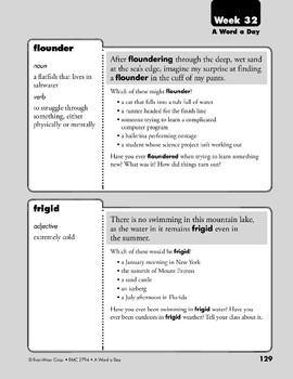 Week 32: enthusiasm, establish, flounder, frigid (A Word a Day)